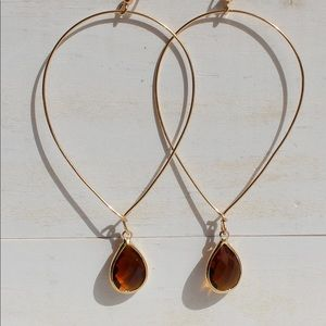 Amber and Gold Lightweight Gem Dangle Earrings